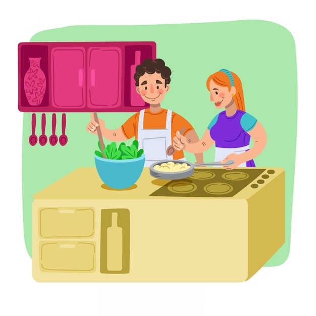 coppie-disegnate-a-mano-che-cucinano-fondo_23-2148192945